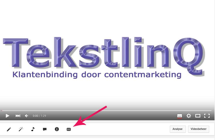 Gebruik de cc button om ondertitels aan een online video toe te voegen