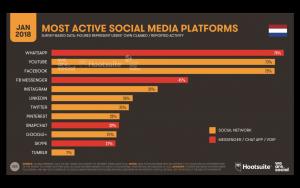 Gebruik social media platforms in Nederland Q1 2018