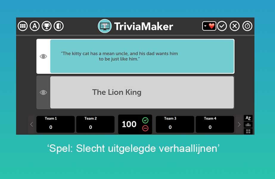 Screenshot van een spel van triviamaker.com